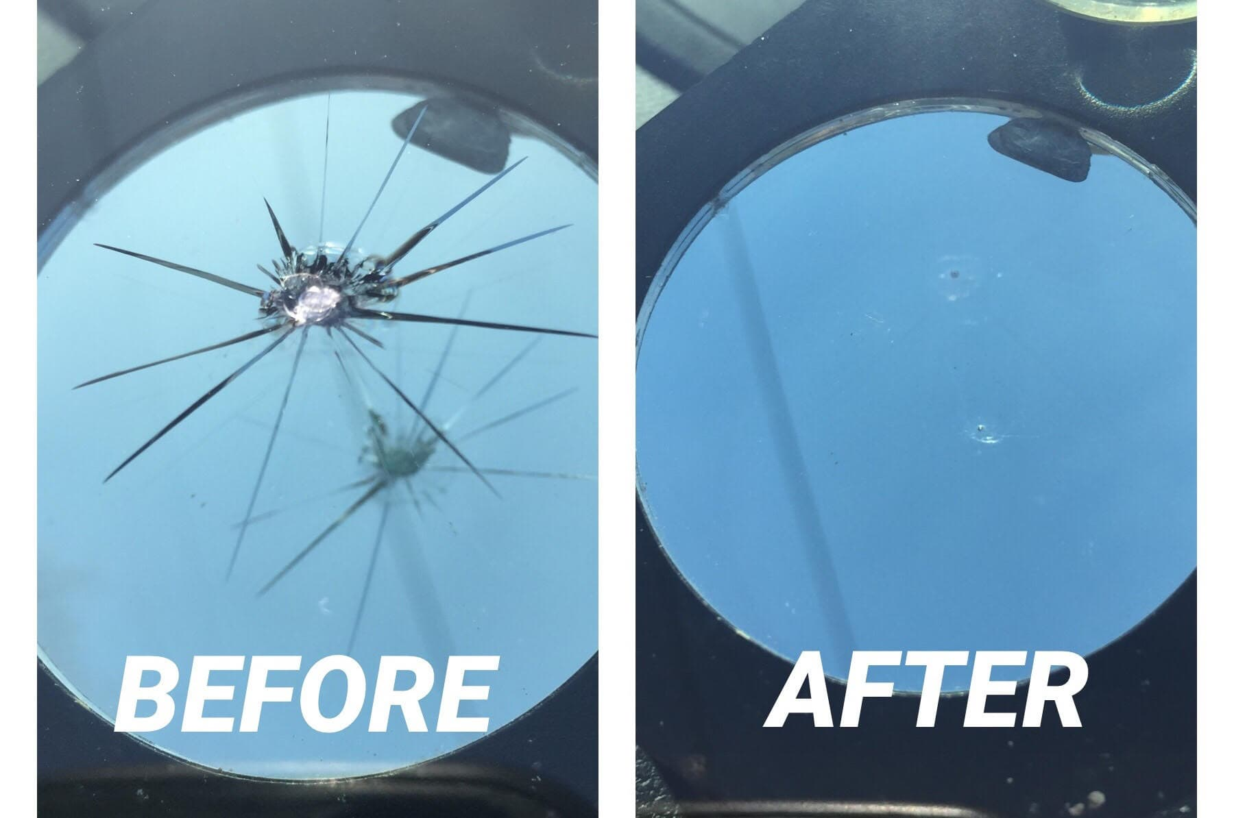 windshield rock chip repair before & after