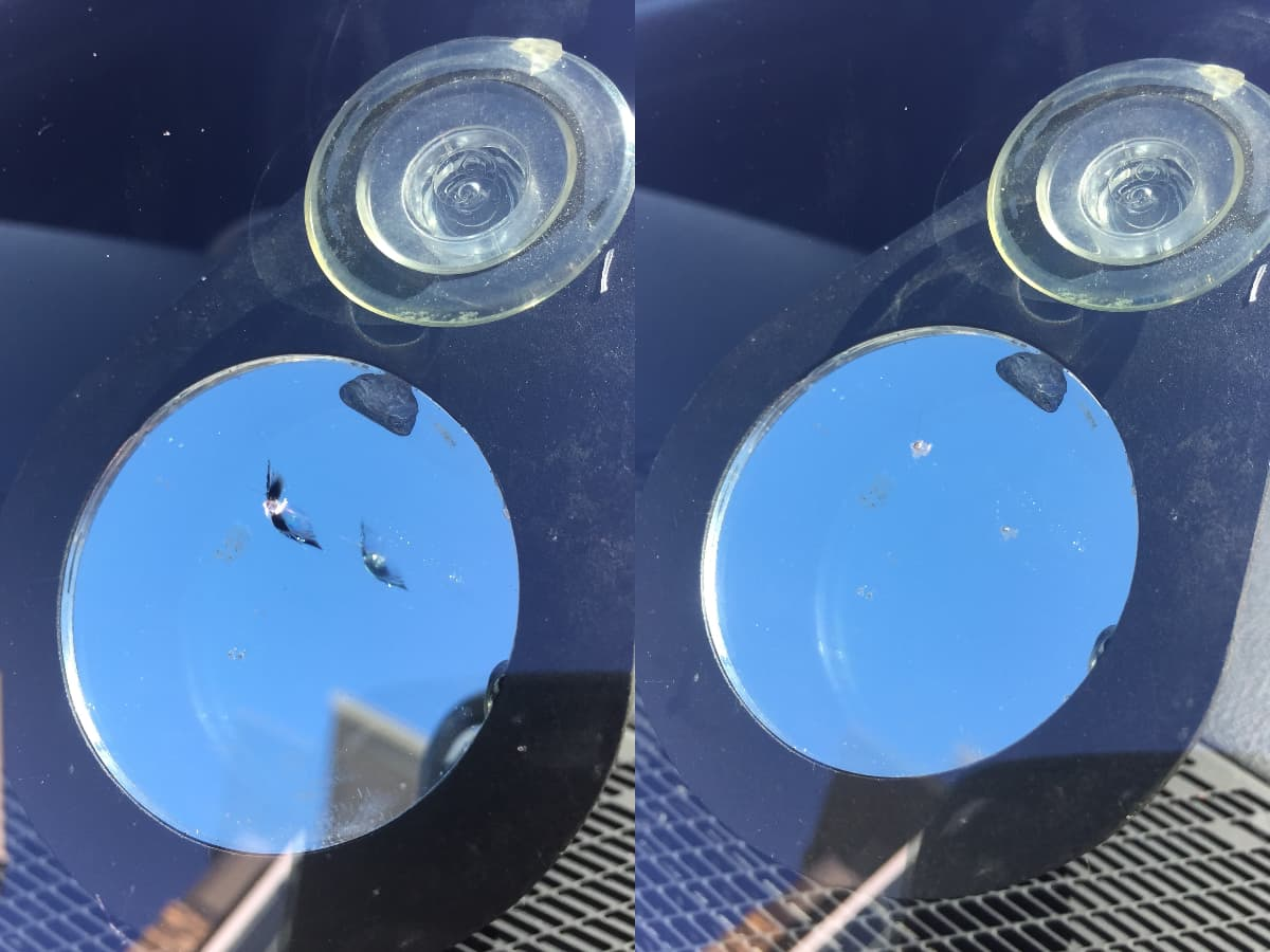 before & after of a windshield chip repair service