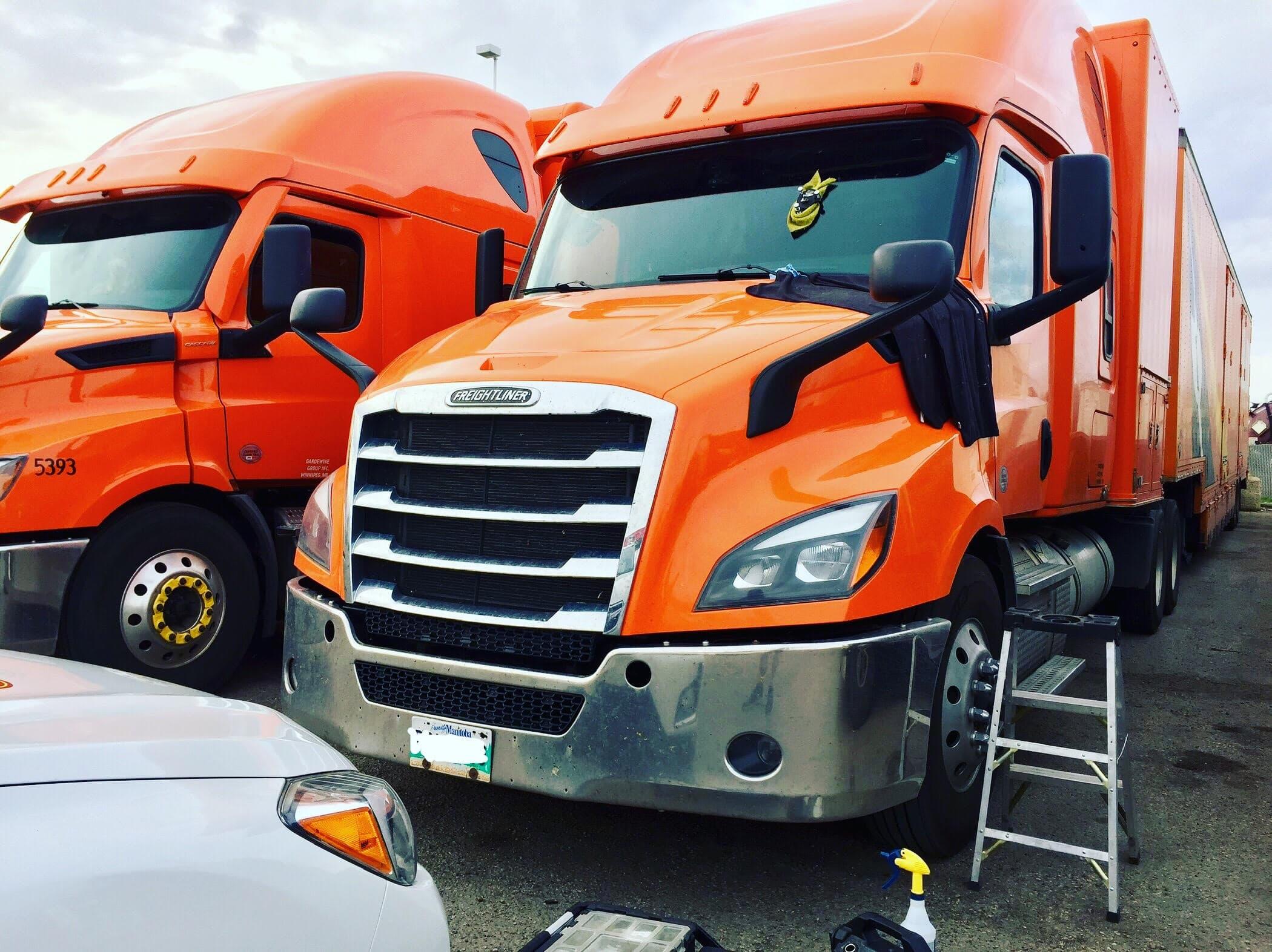 windshield repair on a semi-truck